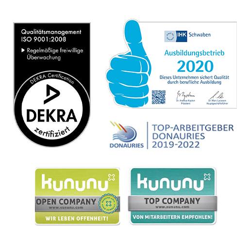 AvJS Personal – Ausbildungsbetrieb Auszeichnung Logos Arbeitgeber: DEKRA, kununu, Donauries, IHK Schwaben