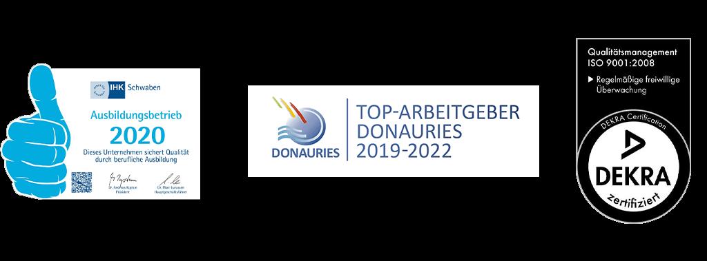 AvJS Personal Profiler – Auszeichnungen IHK Ausbildungsbetrieb, Top Arbeitgeber Donauries und DEKRA Qualitätsmanagement ISO 9001:2008